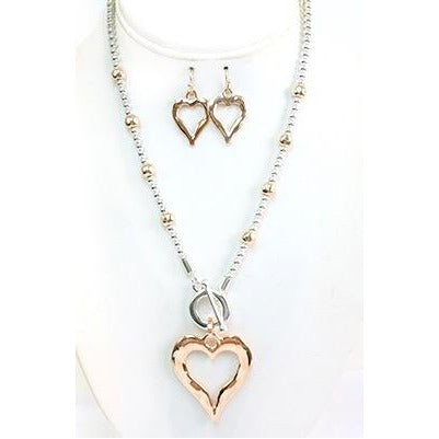 Rose Gold Plated Toggle Necklace & Earring Set