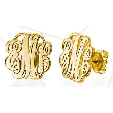 Monogram 18kt Gold Plated .925 Sterling Silver Stud Earrings