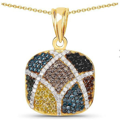 1.03ct Multi-Diamond Vermeil Sterling Silver Pendant/Necklace