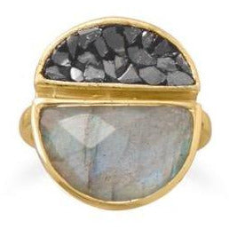Genuine Diamond Chips & Labradorite 14kt Gold-Plated .925 Sterling Silver Ring