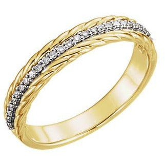 1/6 CTW Diamond Rope Ring 14K Yellow & White Gold Ring - Size 7