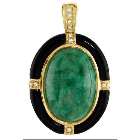 14kt Yellow Gold Russian Jadeite, Onyx & Diamond Pendant/Necklace