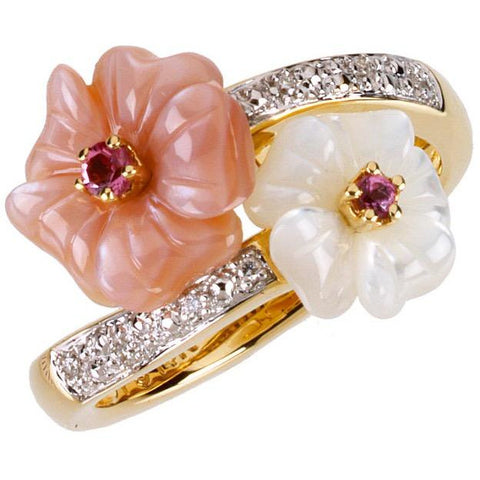 Pink Tourmaline, Mother of Pearl & Diamond 14kt Gold Flower Ring - Size 7
