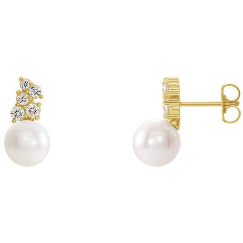 14kt Yellow Gold Freshwater Cultured Pearl & 3/8 CTW Diamond Earrings