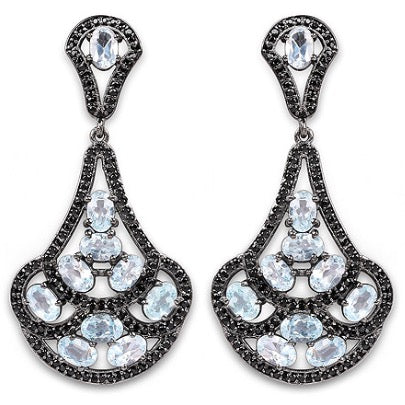 Blue Topaz and Black Spinel .925 Sterling Silver Earrings