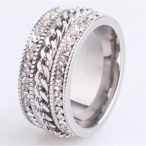 Stainless Steel & Crystal Wide Band Spin Ring