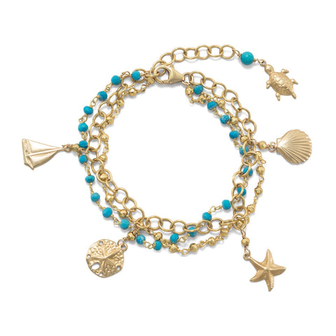 Turquoise 3-Strand 14kt Gold-Over-Sterling Bracelet with Nautical Charms