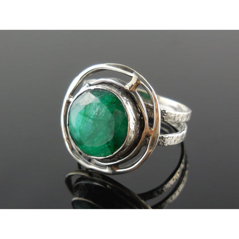 Emerald Sterling Silver Ring – Size 8.5