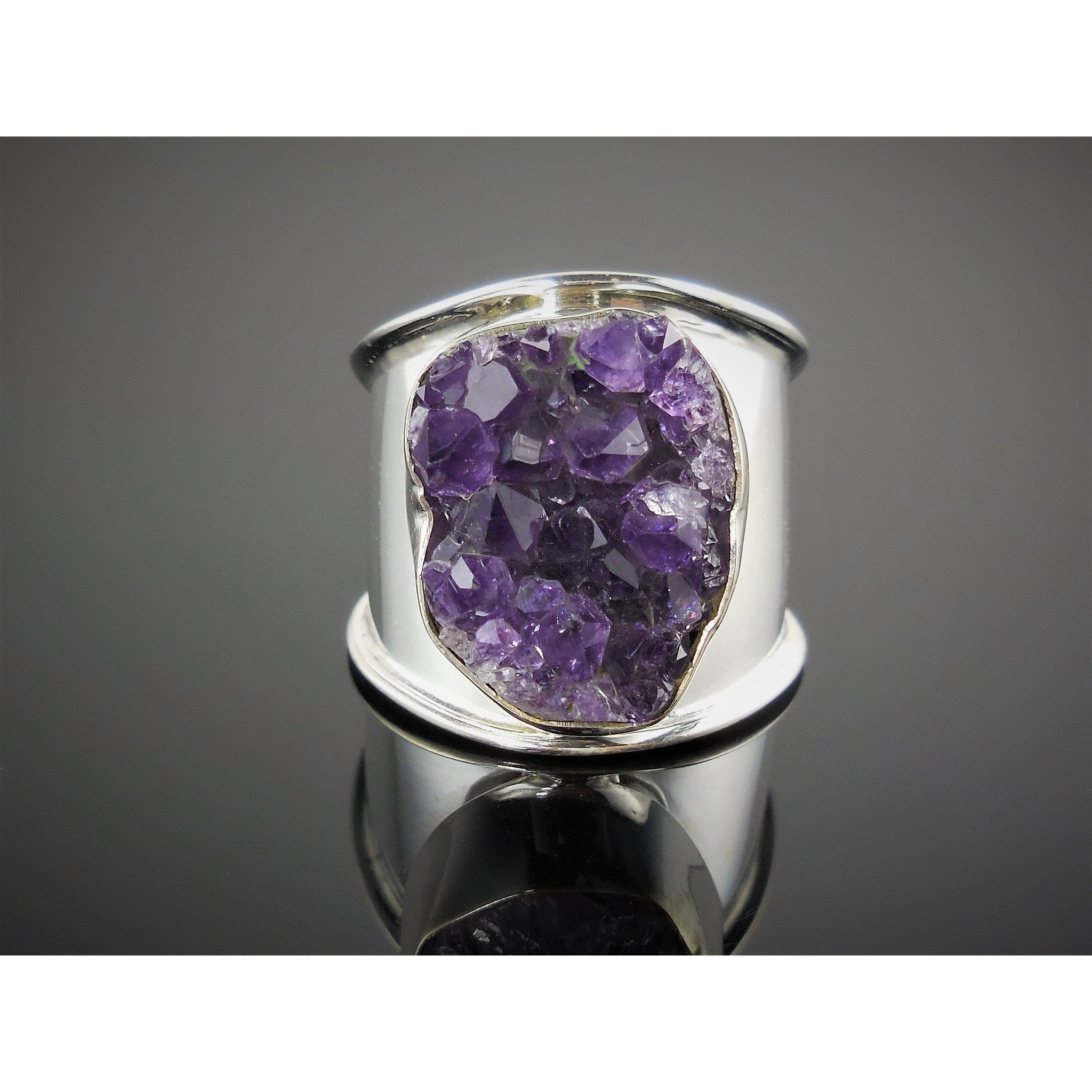 Amethyst (Rough) Sterling Silver Ring - Size 8