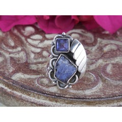 Tanzanite Sterling Silver Leaf Ring – Size 7.0