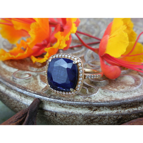 Sapphire & White Topaz Vermeil Gold Ring – Size 7.75