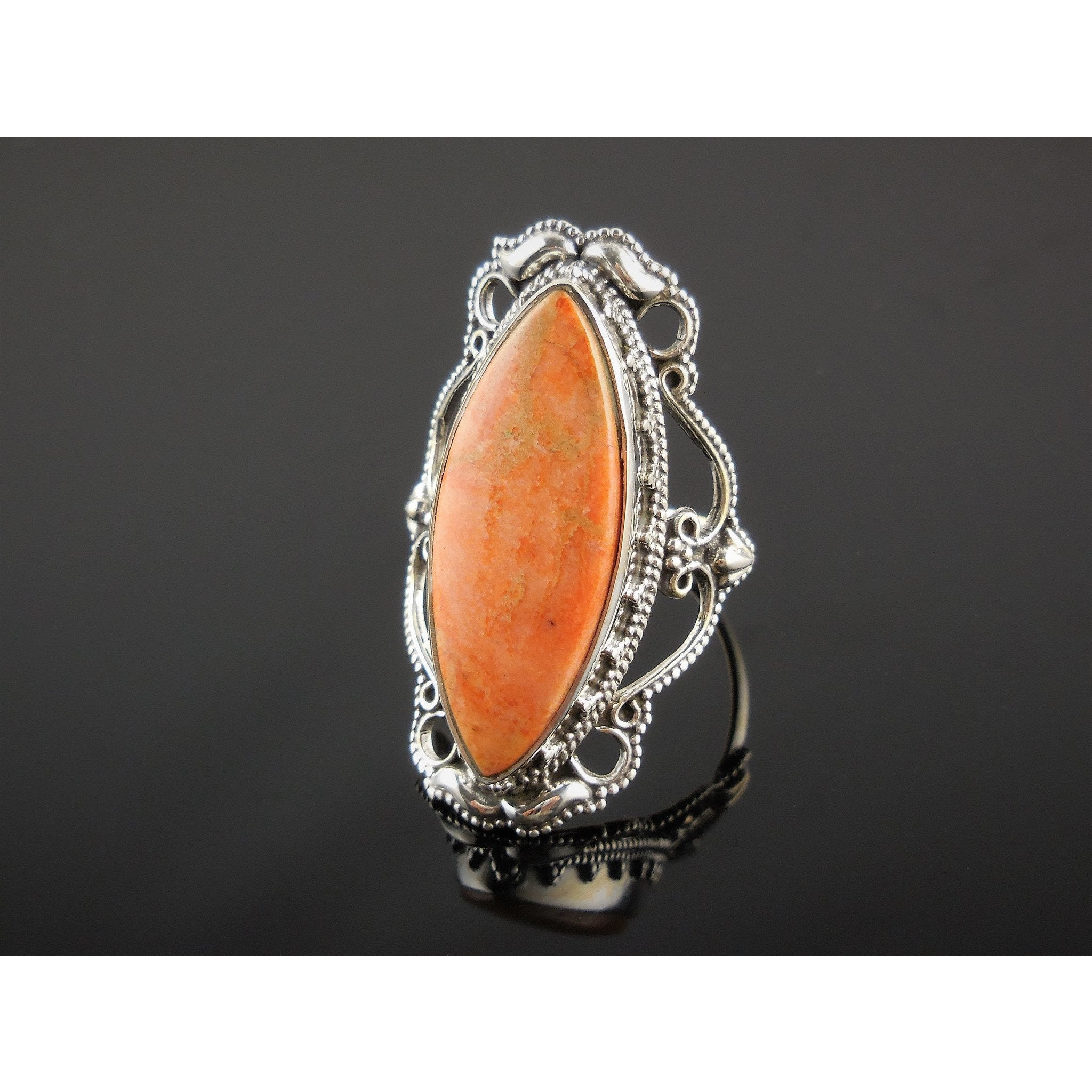 Italian Coral Sterling Silver Ring – Size 9.0