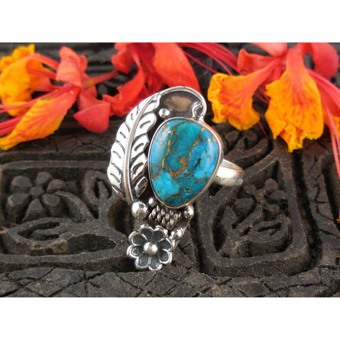 Turquoise Sterling Silver Leaf & Flower Ring - Size 6.75