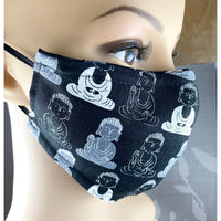 Handsewn Face Mask with Filter Pocket, Bendable Nose Wire, & Adjustable Elastic - Buddha Black - 5 Sizes
