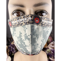 Handsewn Face Mask with Filter Pocket, Bendable Nose Wire, & Adjustable Elastic - US Marine Corps Camouflage - 5 Sizes