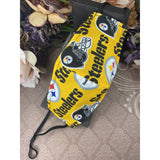 Handsewn Face Mask with Filter Pocket, Bendable Nose Wire, & Adjustable Elastic - Football Team Steelers Themed Fabric - 5 Sizes