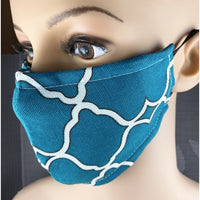 Handsewn Face Mask with Filter Pocket and Bendable Nose Wire - Teal - 5 Sizes