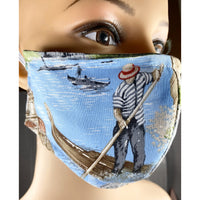 Handsewn Face Cover with Filter Pocket, Bendable Nose Wire, and Adjustable Elastic - Venice Italy & Gondola - 5 Sizes