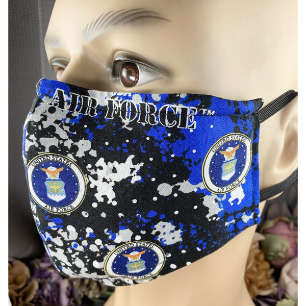 Handsewn Face Mask with Filter Pocket and Bendable Nose Wire - U.S. Air Force Camo - 5 Sizes