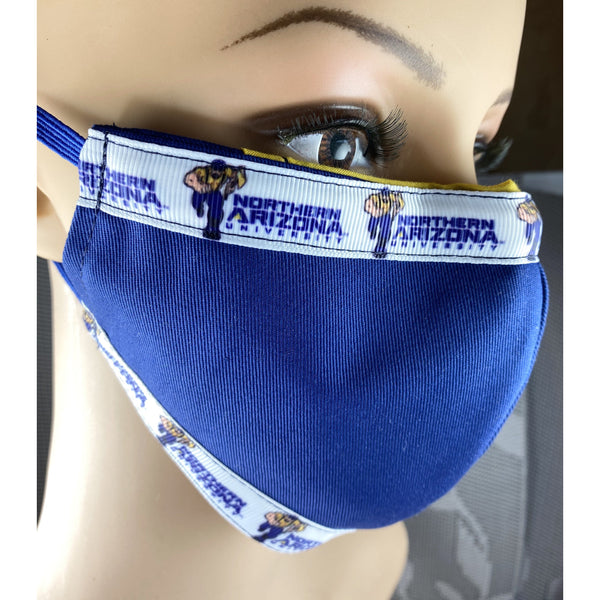 Handsewn Face Mask with Filter Pocket, Bendable Nose Wire, & Adjustable Elastic - Northern Arizona University - 5 Sizes