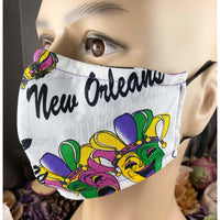 Handsewn Face Mask with Filter Pocket, Bendable Nose Wire, and Adjustable Elastic - New Orleans & Mardi Gras - 5 Sizes