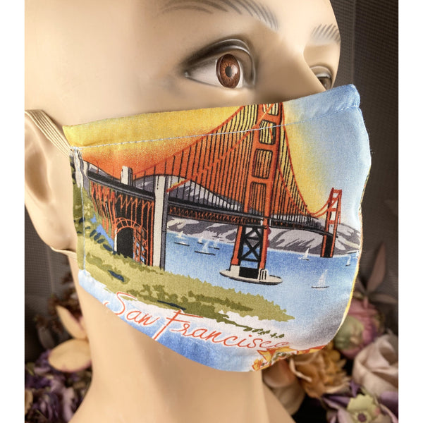 Handsewn Face Mask with Filter Pocket, Bendable Nose Wire, & Adjustable Elastic- California San Francisco Napa Valley - 5 Sizes