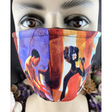 Handsewn Face Mask with Filter Pocket, Bendable Nose Wire, & Adjustable Elastic - Apollo Theater Jazz Club - Scene A - 5 Sizes