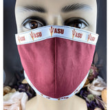 Handsewn Face Mask with Filter Pocket, Bendable Nose Wire, & Adjustable Elastic - Arizona University - 5 Sizes