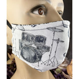 Handsewn Face Cover with Filter Pocket, Bendable Nose Wire, & Adjustable Elastic - Music Lover - 5 Sizes