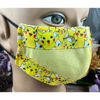 Handsewn Face Mask with Filter Pocket and Bendable Nose Wire - Pokemon Pikachu  - 5 Sizes