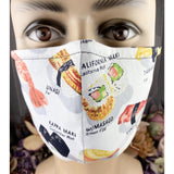 Handsewn Face Mask with Filter Pocket, Bendable Nose Wire, and Adjustable Elastic - Let's Have Some Sushi - 5 Sizes