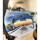 Handsewn Face Mask with Filter Pocket, Bendable Nose Wire, & Adjustable Elastic- California Huntington Beach Santa Monica Pier - 5 Sizes