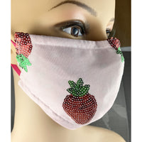 Handsewn Face Cover with Filter Pocket, Bendable Nose Wire, & Adjustable Elastic - Glittery Sequin Strawberries Watermelon Seeds - 5 Sizes