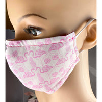 Handsewn Face Mask with Filter Pocket,  Bendable Nose Wire, & Adjustable Elastic - Pink Flamingo - 5 Sizes