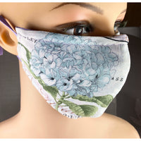 Handsewn Face Mask with Filter Pocket, Bendable Nose Wire, & Adjustable Elastic - Hydrangea Flowers - 5 Sizes