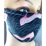 Handsewn Face Mask with Filter Pocket and Bendable Nose Wire - Glittery High Heel Shoes - 5 Sizes
