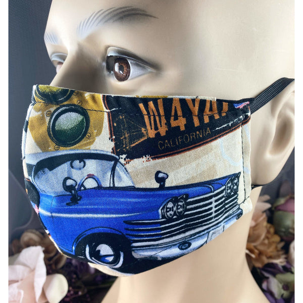 Handsewn Face Mask with Filter Pocket and Bendable Nose Wire - California Route 66 - 5 Sizes