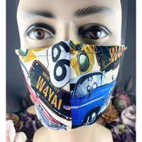 Handsewn Face Cover with Filter Pocket and Bendable Nose Wire - California Route 66 - 5 Sizes