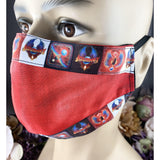 Handsewn Face Mask with Filter Pocket, Bendable Nose Wire, & Adjustable Elastic - Tye Dye- 80s Pop Culture - Don't Stop Believing - 5 Sizes