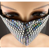 Handsewn Face Mask with Filter Pocket, Bendable Nose Wire, & Adjustable Elastic - Silver Hologram Sequins - 5 Sizes