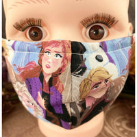 Handsewn Face Mask with Filter Pocket and Bendable Nose Wire - Popular Snow Queen - 5 Sizes
