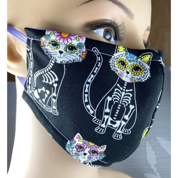 Handsewn Face Cover with Filter Pocket, Bendable Nose Wire, & Adjustable Elastic - Super Cute Feline Sugarskulls - 5 Sizes