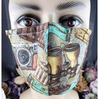 Handsewn Face Mask with Filter Pocket, Bendable Nose Wire, & Adjustable Elastic -  Vintage Traveling Photographer - 5 Sizes