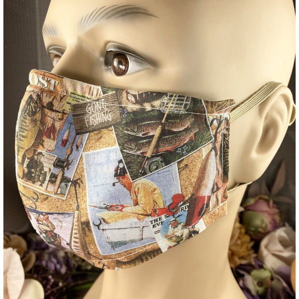 Handsewn Face Mask with Filter Pocket, Bendable Nose Wire, & Adjustable Elastic -  Gone Fishing - 5 Sizes