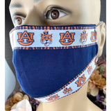 Handsewn Face Mask with Filter Pocket and Bendable Nose Wire - Auburn University Tigers Inspired Ribbon - 5 Sizes
