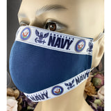 Handsewn Face Mask With Filter Pocket Bendable Nose Wire - United States Navy Themed Ribbon - 5 Sizes