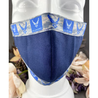 Handsewn Face Mask With Filter Pocket Bendable Nose Wire - United States Air Force Themed Ribbon - 5 Sizes
