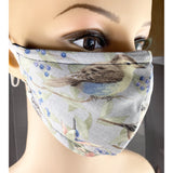 Handsewn Face Mask with Filter Pocket, Bendable Nose Wire, & Adjustable Elastic - Wildlife Birds - 5 Sizes