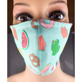 Handsewn Face Cover with Filter Pocket,  Bendable Nose Wire, & Adjustable Elastic - Summer Treats - 5 Sizes