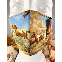 Handsewn Face Mask with Filter Pocket, Bendable Nose Wire, & Adjustable Elastic - Wild Horses - 5 Sizes